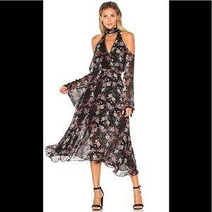 NWT Nicholas Floral Chain Neck Wrap Front Dress